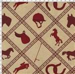 Tecido Estampado para Patchwork - Coleção Haras: Hipismo Fundo Bege (0,50x1,40)