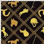 Tecido Estampado para Patchwork - Coleção Haras: Hipismo Fundo Preto (0,50x1,40)