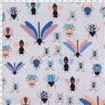Tecido Estampado para Patchwork - Coleção Insetos Coloridos com Poá By Lulublu (0,50x1,40)
