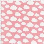 Tecido Estampado para Patchwork - Coleção Irmãos Coruja Nuvem Rosa (0,50x1,40)