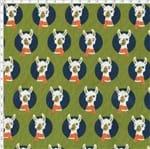 Tecido Estampado para Patchwork - Coleção Lhamas Rosto de Lhama Verde (0,50x1,40)