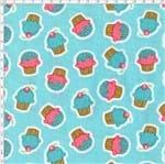 Tecido Estampado para Patchwork - Coleção Pillows Fundo Pillow Cupcake Azul (0,50x1,40)
