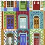 Tecido Estampado para Patchwork - Coleção Portas Coloridas (0,50x1,40)