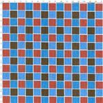 Tecido Estampado para Patchwork - Coleção Quad. Azul/Marrom Cor 01 LU021 (0,50x1,40)