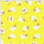 Tecido Estampado para Patchwork - Coleção São Jorge Cordeiro Fundo Amarelo (0,50x1,40)