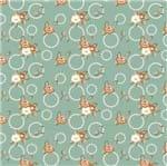 Tecido Estampado para Patchwork - Coleção Sweet Flowers Ramos e Círculos Acqua (0,50x1,40)