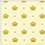 Tecido Estampado para Patchwork - Coroa com Poá Fundo Creme Cor 03 (0,50x1,40)