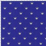 Tecido Estampado para Patchwork - Coroa Dourada Fundo Azul Marinho Cor 03 (0,50x1,40)