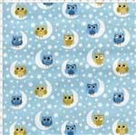 Tecido Estampado para Patchwork - Corujinha Coruja Azul (0,50x1,40)