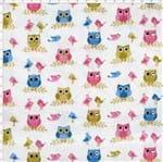 Tecido Estampado para Patchwork - Corujinha Coruja Colors (0,50x1,40)