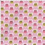 Tecido Estampado para Patchwork - Corujinha Coruja Rosa (0,50x1,40)
