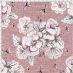 Tecido Estampado para Patchwork - Digital Bouquet Grande Rose Hexagonos (0,50x1,40)