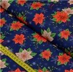Tecido Estampado para Patchwork - Digital Natal Floral Fundo Marinho (0,50x1,40)