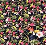 Tecido Estampado para Patchwork - Digital Tropical Floral com Aves Cor 01 (0,50x1,40)