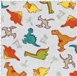 Tecido Estampado para Patchwork - Dinos By Taís Fávero: Dinos Fundo Cinza (0,50x1,40)