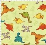 Tecido Estampado para Patchwork - Dinos By Taís Fávero: Dinos Fundo Verde (0,50x1,40)