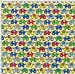 Tecido Estampado para Patchwork - Elefante Colorido Fundo Bege Cor 01 (0,50x1,40)