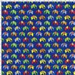 Tecido Estampado para Patchwork - Elefante Colorido Fundo Marinho Cor 02 (0,50x1,40)