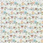 Tecido Estampado para Patchwork - Festa na Floresta: Mini Coruja no Galho Salmão (0,50x1,40)