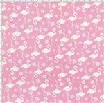 Tecido Estampado para Patchwork - Flamingos Rosa Cor 1552 (0,50X1,40)