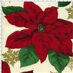 Tecido Estampado para Patchwork - Flor de Natal com Flocos de Neve C01 (0,50x1,40)