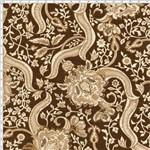 Tecido Estampado para Patchwork - Floral com Arabesco Marrom Cor 03 (0,50x1,40)
