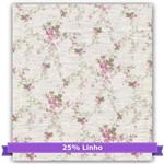 Tecido Estampado para Patchwork - Floral Rosa 25% Linho Cor 06 (0,50x1,40)