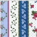 Tecido Estampado para Patchwork - Fluorita Barras Flores Rosa Cor 1 (0,50x1,40)