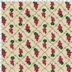 Tecido Estampado para Patchwork - Fruits: Composê Uvas e Folhas Fundo Bege (0,50x1,50)