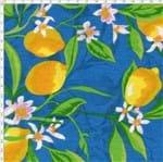 Tecido Estampado para Patchwork - Fruits: Limão Fundo Azul (0,50x1,50)