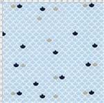 Tecido Estampado para Patchwork - Fundo do Mar Escama Marinho (0,50x1,40)