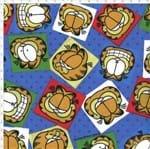 Tecido Estampado para Patchwork - Garfield Face com Poá Azul (0,50x1,40)