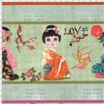 Tecido Estampado para Patchwork - Gueixas Japonesa Verde (0,50x1,40)