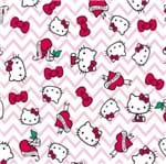 Tecido Estampado para Patchwork - Hello Kitty Tatoo Chevron (0,50x1,40)