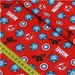 Tecido Estampado para Patchwork - Marvel: Capitão América Fundo Vermelho (0,50x1,50)