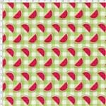 Tecido Estampado para Patchwork - Melan & Cia: Fatias no Xadrez Picnic (0,50x1,40)