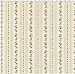 Tecido Estampado para Patchwork - Millyta Four Seasons Listrado Bege com Rosas Rose (0,50x1,40)