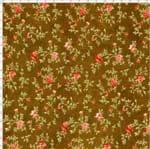 Tecido Estampado para Patchwork - Millyta Four Seasons Ramos com Rosas Fundo Marrom (0,50x1,40)