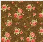 Tecido Estampado para Patchwork - Millyta Four Seasons Rosas com Arabesco Fundo Marrom (0,50x1,40)