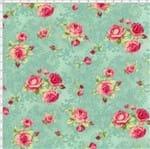 Tecido Estampado para Patchwork - Millyta Four Seasons Rosas com Arabesco Fundo Verde (0,50x1,40)