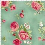 Tecido Estampado para Patchwork - Millyta Four Seasons Rosas com Fundo Verde (0,50x1,40)