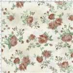 Tecido Estampado para Patchwork - Millyta La Vie En Rose Rosas Média Fundo Bege com Rosas Rosê (0,50x1,40)