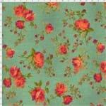 Tecido Estampado para Patchwork - Millyta La Vie En Rose Rosas Média Fundo Verde com Rosa Vinho (0,50x1,40)