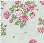 Tecido Estampado para Patchwork - Millyta Shabby Romantic Rosas Grande Verde Claro (0,50x1,40)