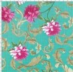 Tecido Estampado para Patchwork - Mirella Floral Barroco Verde 01 (0,50x1,40)