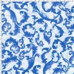 Tecido Estampado para Patchwork - Mirella Folhagem Barroco Azul 02 (0,50x1,40)