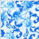 Tecido Estampado para Patchwork - Mirella Folhagem com Dália Azul 02 (0,50x1,40)