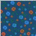Tecido Estampado para Patchwork - Modern Flower Floral Fundo Azul (0,50x1,40)