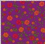 Tecido Estampado para Patchwork - Modern Flower Floral Fundo Roxo (0,50x1,40)