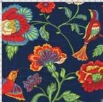 Tecido Estampado para Patchwork - Modern Oriental: Floral Eden com Pássaros Fundo Marinho (0,50x1,40)